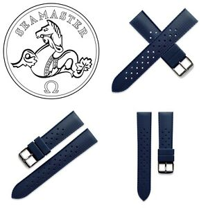 20mm Blue Silicone Rubber Tropic Watch Strap Band For Omega Seamaster 300M