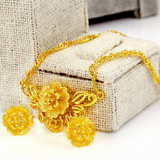 Necklace Earrings Flowers Set Women 24k Yellow Gold Filled Old Fashioned Jewelry
