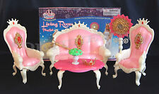 PRINCESS DOLL SZ FURNITURE LIVINGROOM SOFA ARM CHAIRS PLAYSET FOR BARBIE