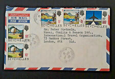 1972 Victoria Seychelles To London England Overprint Multi Frank Airmail Cover