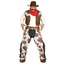Adult Mens Cowboy Chaps Waistcoat Western Wild West Fancy Dress Costume
