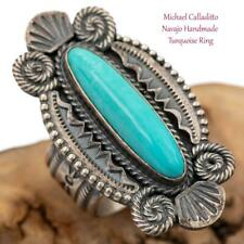 Navajo Turquoise RING Sterling Silver Natural Navajo Michael Calladitto 7 Old St