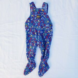 Vintage OshKosh Blue Alphabet Footed Overalls - 6/9 Months - Made in USA