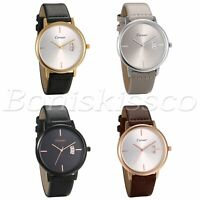 Men's Women's Classic Leather Band Dial Analog Quartz Wrist Watch Couples Gift