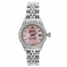 Rolex Datejust Steel Custom Diamond Pink MOP Dial Ladies Automatic Watch 69174