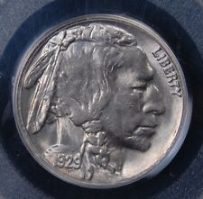 1929 S BUFFALO N ICKEL OLD GREEN HOLDER PCGS MS 64 STEELY WHITE AND HAMMERED