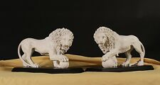 Marble Medici & Vacca Lions,White on Black bases (pair) Stunning Centerpiece.