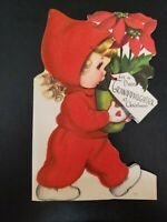 Vtg Rust Craft Christmas Greeting Card Diecut Flock Girl Snowsuit GRANDDAUGHTER