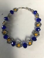 "Vintage 925 Sterling Silver Blue Marquise and Yellow Quartz Beads 7.75"" Bracelet"