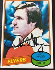 PHIL MYRE SIGNED 1980-81 PHILADELPHIA FLYERS HOCKEY CARD,Canadiens,Flames,Flyers