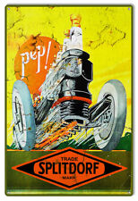 "Splitdorf Spark Plug Reproduction Gas Station Garage Shop Sign 12""x18"""