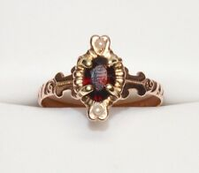 Antique Victorian 10K Garnet Seed Pearl Navette Ring Yellow Gold Ornate Vintage