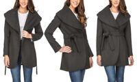 Haute Edition z Womens Wool Blend Shawl Collar Wrap  Coat Xl Charcoal