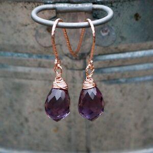 Small Briolette Amethyst Earrings 14K Rose Gold Filled , February Birthstone