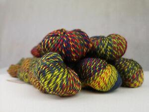 5 skeins of 100% superwash wool aran weight variegated color