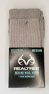 REALTREE Merino Wool Hiker Socks Medium 1-Pair Midweight Color-Smoke New w/Tags
