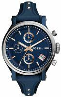 Fossil ES4113 Boyfriend Blue Dial Blue Leather 38mm Women's Watch