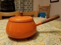 Vintage Retro 60's Mid Century Modern Orange Enamel Saucepan Fondue Pot Wood Han