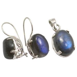 BLUE Jewelry Set For Women 925 SOLID Silver LABRADORITE CELTIC Earrings Pendant