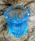 Glass Toothpick Holder Light Blue Contemporary Cathedral with Ridges Vintage.