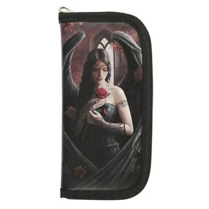 Anne Stokes Angel Rose Purse / Wallet Black Fairy Fantasy Gothic Canvas Zipped