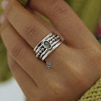 925 Sterling Silver Band&Labradorite Spinner Ring Handmade Jewelry All Size B-34