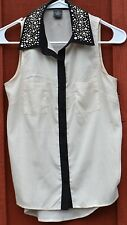 Wet Seal XS Cream Blouse Black Trim & Collar w/ Embellishment EUC Polyester