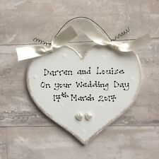 PERSONALISED Wedding Engagement Anniversary Present Gift ~ Heart Sign Plaque
