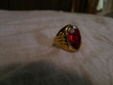 MEN'S 18KT H.G.E. GOLD RING  RED STONE 7.25