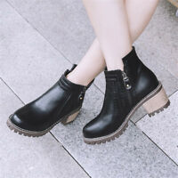 Retro Womens Short Ankle Boots Round Toe Block Mid Heel Casual Side Zip Booties
