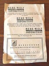 FLYER 1930 JEWISH ORGANIZATION IN VIENNA AUSTRIA HATIKWA SONG WORDS JUDAISM JEWS