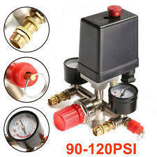 90~120Psi Air Compressor Pressure Switch Control Valve Manifold-Regulator-Gauges