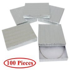 Cotton Filled Gift Box Fancy Silver Foil Jewelry Boxes Cardboard Display 100 Pcs