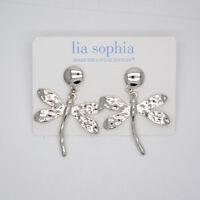 Lia sophia jewelry polished silver plated dragonfly drop dangle stud earrings