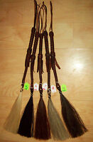HITCHED HORSE HAIR HORSEHAIR SHOO FLY QUIRT WHISK  BRAIDED LEATHER DARK OILED
