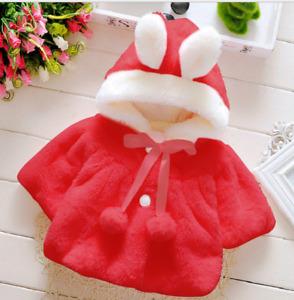 Newborn Toddler Kids Baby Girls Winter Coral Velvet Hooded Coat Outerwear Jacket