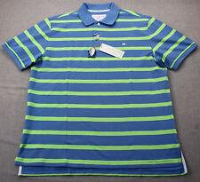 Southern Tide Club Men Blue & Green Striped Logo Fishing Polo Shirt NWT  M  $85