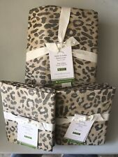 NEW Pottery Barn Cheetah Print Patterned Organic KING Duvet Cover & 2 KING Shams