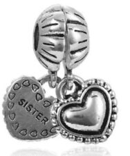 BEAUTIFUL SILVER SISTER HEART CHARM GENUINE BARGAIN LIMITED QUANTITY SALE !