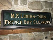 Antique Sign M.F. Lorish French Dry Cleaners Reverse Painted Glass Allentown Pa