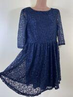 BOOHOO navy blue floral lace skater mini tea dress size 12 euro 40