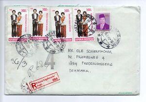 INDONESIA: Registered cover to denmark 1988, returned.