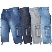 Kruze Mens Cargo Combat Shorts Knee Length Cotton Denim Half Pant All Waist Size