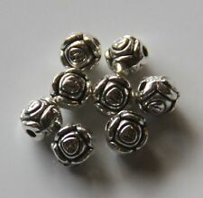 100pcs 6mm Metal Alloy Round Rose Spacer Beads - Antique Silver