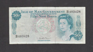 50 NEW PENCE FINE BANKNOTE FROM ISLE OF MAN 1972  PICK-28b