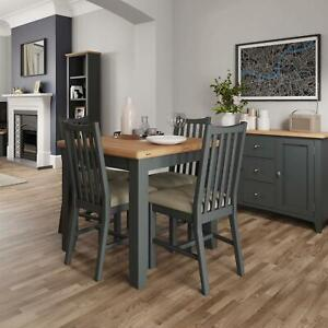 Grey Painted Extending Modern Flip-Top Table Wooden Frame Rounded Corners