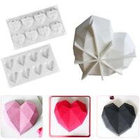 3D Diamond Heart Shape Silicone Cake Fondant Chocolate Mold Mould Baking Decors
