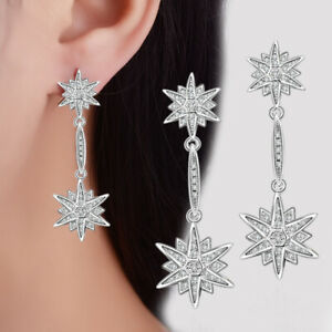 Women's Fine Elegant 925 Sterling Silver Natural Zircon Star Stud Drop Earrings