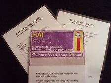 FIAT X 1/9 Owners Workshop Manual + 2 Laminated Fuse & Circuit Charts