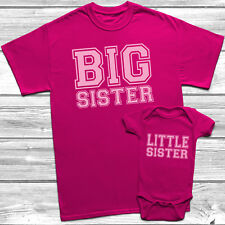 Big Sister Little Sister T-Shirt Kids Baby Grow Sisters Outfits